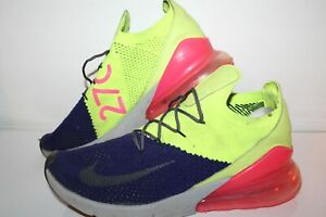 Nike Air Max 270 Flyknit Running Shoes, Volt/Purple/Pink, Mens US Size 12
