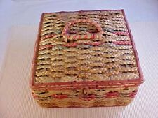 Sewing Basket Vintage Woven Straw Tufted Satin Lining Wooden Tray Plus Notions