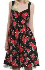 GOTHIC SEXY ROCKABILLY PIN UP GIRL RED ROSES AND POLKA DOTS SWING DRESS NWT MD
