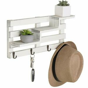 Wall-Mounted Vintage Whitewash Wood Tiered Accent Shelf w/ 4 Antique Style Hooks