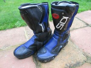 MENS SIDI VERTEBRA SIZE 8 UK 42 EUR BLUE & BLACK LEATHER MOTORCYCLE BOOTS