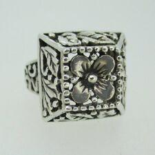 Vintage Filigree Sterling Silver Square Flower Leaf Ring Size 6