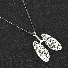 Women Anatomical Lung Pendant Necklace Charm Alloy Chain Jewelry Vintage Gift