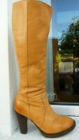Topshop Tan brown leather high heel knee high boots 5
