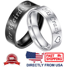 Couple's Matching Ring His Crazy or Her Weirdo Wedding Band for Men or Women