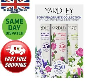 Yardley London Body Spray Set 200g English Rose Lilly Travel Day Night Fresh UK