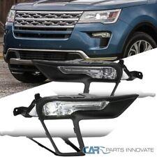 For 18-19 Ford Explorer LED Fog Bumper Lights Lamps+Switch+Matte Black Bezels