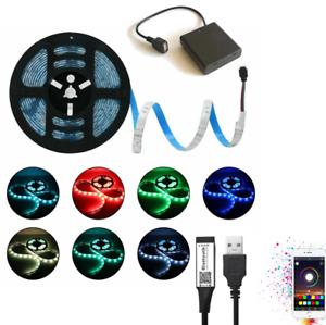 DC 5V Bluetooth USB  Battery Led Strips Lights RGB 5050 Light TV BackLight Party