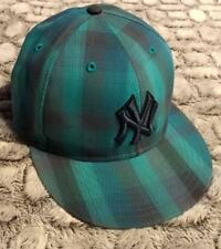 New York Yankees New Era 59Fifty Green Blue Gray Plaid Fitted Hat Cap Sz 7 1/8