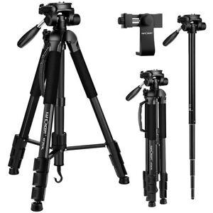 "K&F Concept 56"" Cameras/Phone Tripod with 3-Way Swivel Pan Tilt Head/phone clip"