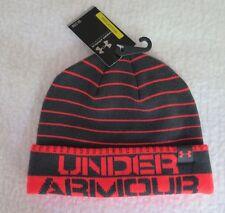 Under Armour Boys Cuff Stripe Black/Red Beanie - OSFA - NWT - MSRP$22.00