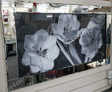3 white flowers & black glass picture with liquid art, crystals & mirror frame