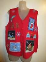 Holiday Editions M Vest Christmas Ugly Sweater Sequin Beaded Embroidered Red