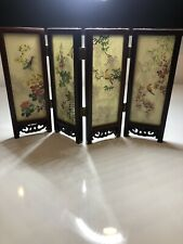 Chinese Lacquered Wood Four Panel Folding Tabletop Screen Birds Floral Mountains