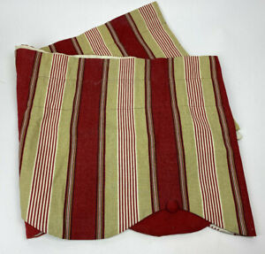 WAVERLY Valance STRIPED Red Tan SCALLOPED Button Edge HOME Classics Yacht Club
