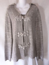 Coldwater Creek Long Silver Gray Slinky Knit Asian Knot Cardigan Sweater Large L