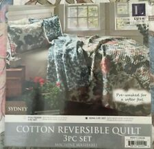 Lush Decor Sydney Reversible 3 Pc King Quilt Set NWT Blue Green Floral $249.99