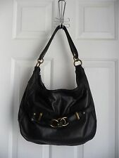 Wilson Leather Shoulder Purse Bag Black Genuine Leather Hobo Soho Brass Hardware
