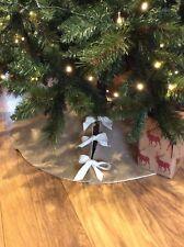 Natural Hessian Christmas Tree Skirt Traditional Decoration Holiday Rustic