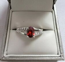 Cubic Zirconia Ring - With Imitation Ruby Rhinestone - 925 - Perfect Gift