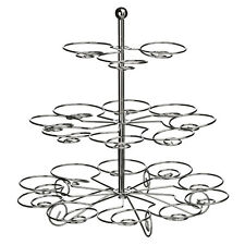 3 Tier Cake Stand Elegant Swirls Made From Chrome Wire Hold Upto 21 Cupcakes Lig