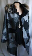 Damen Mantel,Jacke,Kurzmantel,Farbe Schwarz/Grau,Kapuze,Gr.38-40