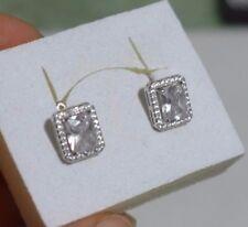 Silber plattiert Ohrringe Creolen, mit Zirkonia weiß