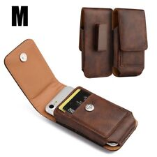 for SAMSUNG Phones - VERTICAL BROWN Leather Pouch Card Holder Belt Clip Case
