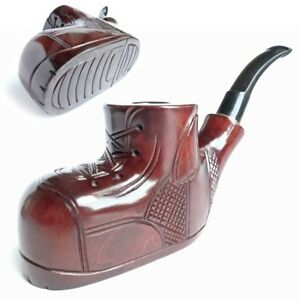 * Boots * Wooden HAND CARVED Handmade Smoking Pipe 9 mm filter Self - Standing