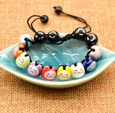FD4745 Ceramic Lucky Cat Beads Charm Bracelets For Fortune Health Adjustable