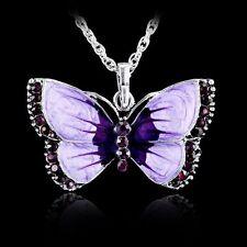 Fashion Butterfly Crystal Women Jewelry Enamel Silver Pendant Necklace Chain