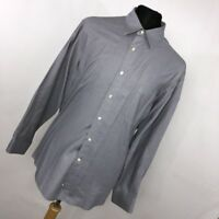 Donna Karan Signature 17 34/35 Mens Dress Shirt Blue Black Label Button Down H5