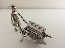 Antique Chinese Silver Miniature of A Chinese Street Vendor - Luen Wo 1880 -1925