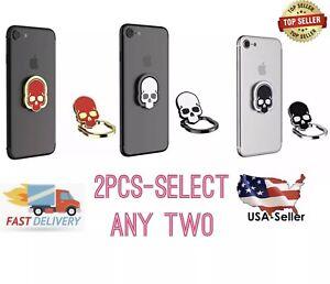 2x 3D Universal Skull 360 Rotating Finger Ring Stand Holder Plate Cell phone