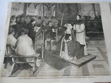 Erasime lisant son livre l'Education du Prince Marguerite Antique Old Print 1861