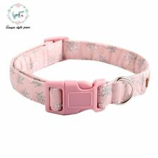 Pink White Floral Dog Collar with Bow Tie Handmade Plastic Buckle Dog&Cat