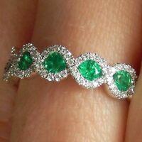 Gorgeous Oval Cut Emerald 925 Silver Jewelry Women Wedding Rings Size 6-10