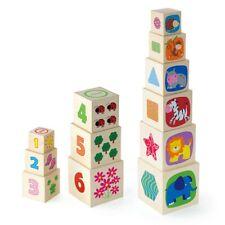 New Classic Toys Stapelwürfel aus Holz Tiere Zahlen Formen Lernspielzeug Stapelt