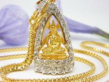 """FAMOUS THAI CZ BUDDHA SOTHORN AMULET +22"""" CHAIN 24K Gold GP Pendant Necklace GT1"""