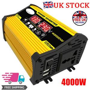 4000W Car Van Power Inverter Modified DC 12V to AC 240V Charger Converter 2 USB