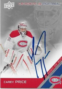Autographed 2011-12 UD Mcdonalds Montreal Canadiens Carey Price Card Original