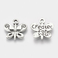 20 x Tibetan Silver Pendants Charms Jewellery Making Butterfly Created for You
