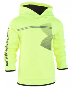 Boys Under Armour Zoom Logo, Bright Yellow Hoodie Pullover Jacket Size 5 - NWT