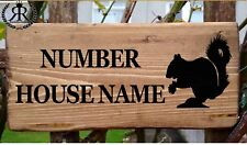 Rustic Squirrel House Sign Gate Plaque Door Number Personalised Name Plate Red