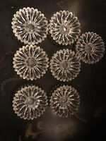 "7 Vintage National Jeannette Crystal Clear Glass ""Sunflower"" Taper Candle Holder"
