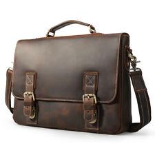 """15.6"""" Men Vintage Real Leather Laptop Briefcase Bag Messenger Shoulder Bag Tote"""
