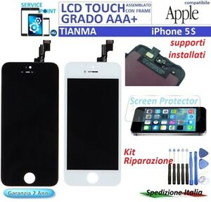 DISPLAY LCD TOUCH SCREEN FRAME PER APPLE iPHONE 5S TIANMA ORIGINALE NERO/BIANCO
