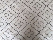 P KAUFMANN TILED SANDSTONE DIAMOND EMBROIDERED COTTON DRAPERY FABRIC OUTLET BTY