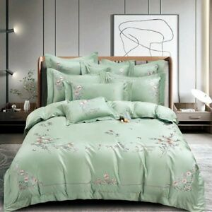 Classic embroidery bedding set 4pcs 120S cotton quilt cover bed sheet pillowcase