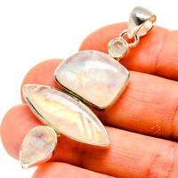 "Rainbow Moonstone 925 Sterling Silver Pendant 2 1/4"" Ana Co Jewelry P748735F"